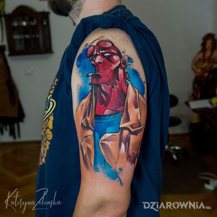 Tatuaż hellboy  akwarela - demony