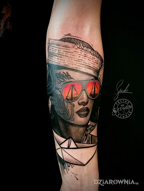 Tatuaż stocznia - kolorowe