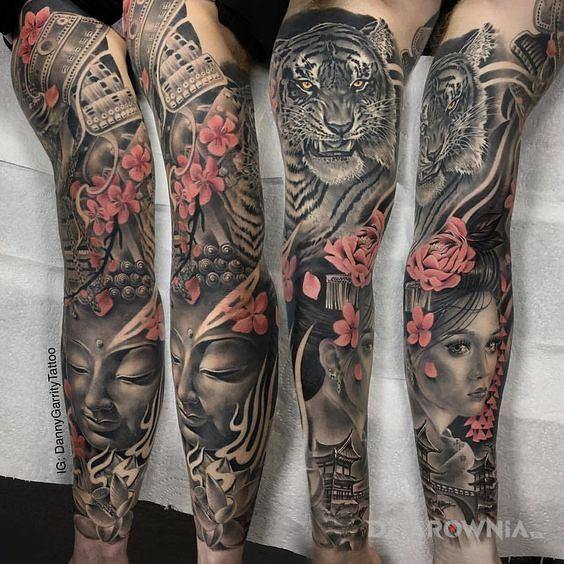 Tatuaż tygrys i gejsza - twarze