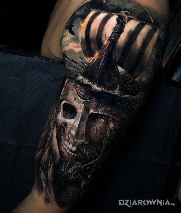 Tatuaż półmartwy wiking - twarze