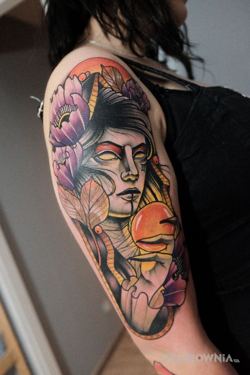 Tatuaż wiedźma  neotraditional - kolorowe