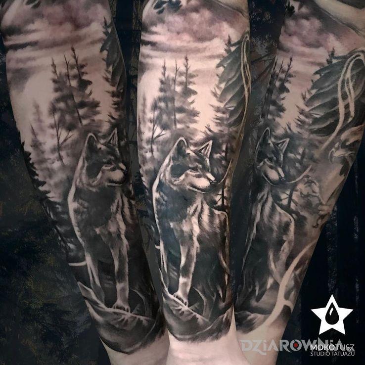 Tatuaż wilk - część rękawa - rękawy