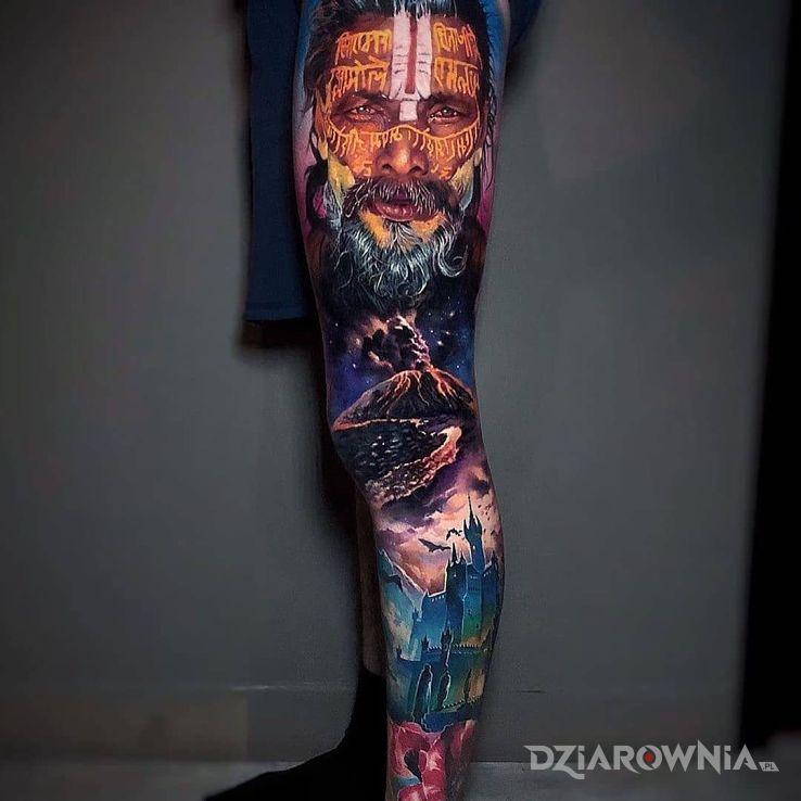 Tatuaż starzec nad wulkanem - rękawy