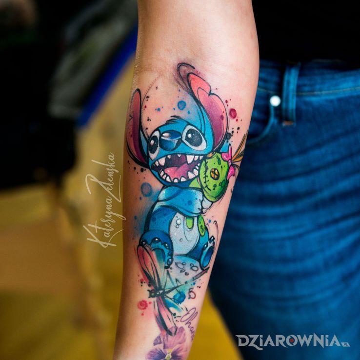 Tatuaż stitch  akwarela  watercolor - kolorowe