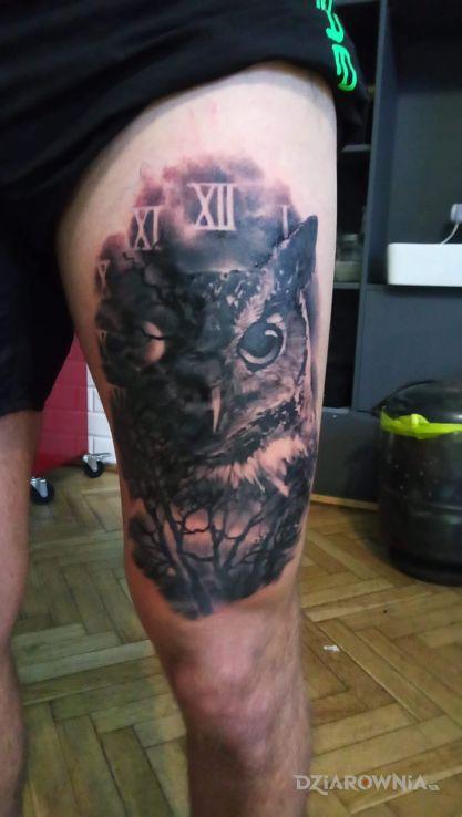 Tatuaż sowazegar - zwierzęta