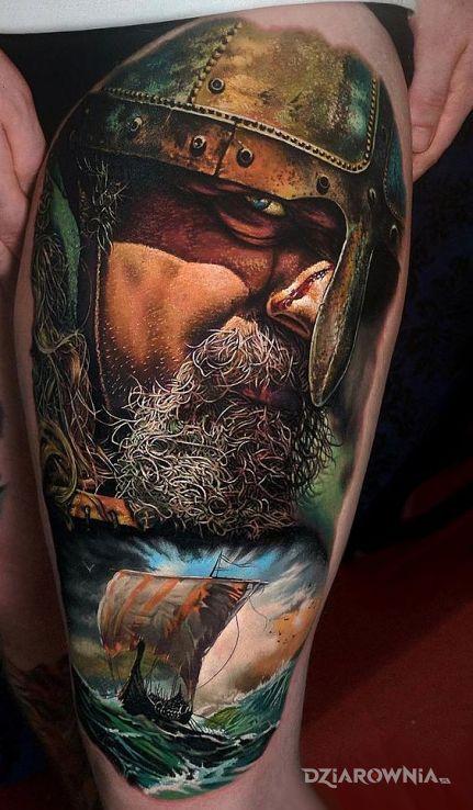 Tatuaż wiking na pełnym morzu - twarze