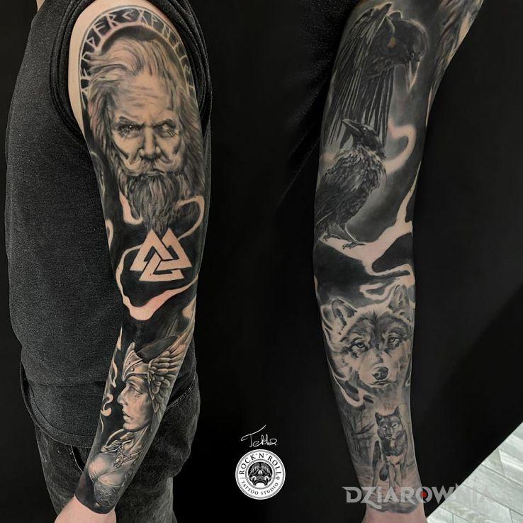 Tatuaż rękaw mitologia nordycka - twarze