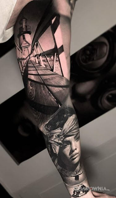 Tatuaż spacer po molo o - czarno-szare