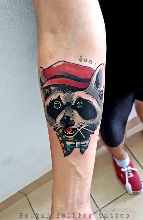 Tatuaż szop - zwierzęta