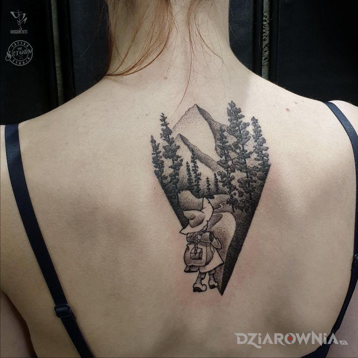 Tatuaż włóczykij - czarno-szare