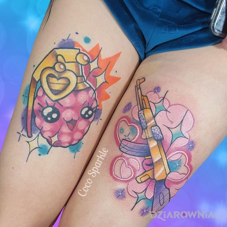 Tatuaż granat  ak47 - kolorowe