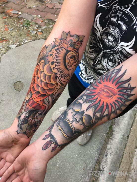 Tatuaż sowa  czaszka  słońce  oko  neotraditional - czaszki