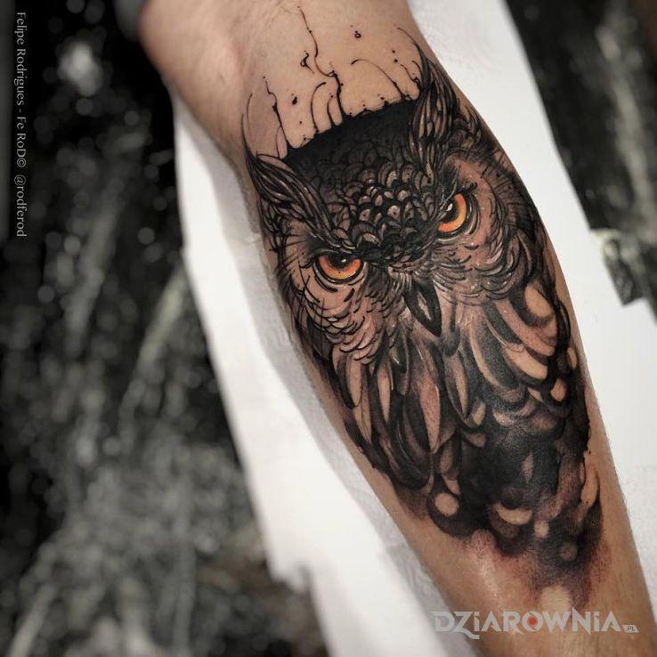 Tatuaż Sowa Autor Marianek Dziarowniapl