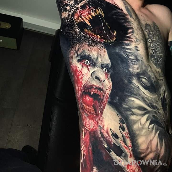 Tatuaż krwiożercze bestie - czarno-szare