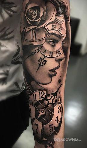 Tatuaż zegar na oku - przedmioty