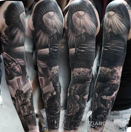 Tatuaż boskie schody - czarno-szare