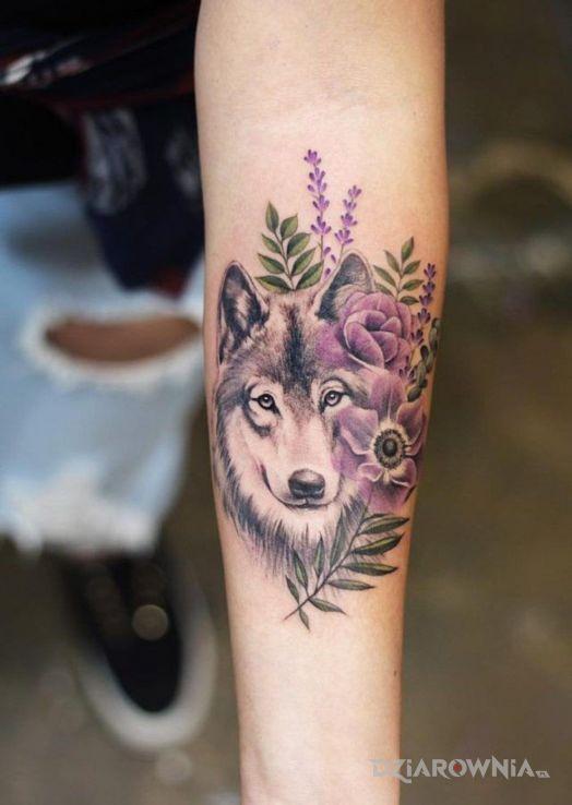 Tatuaż wilk z fioletem - kolorowe