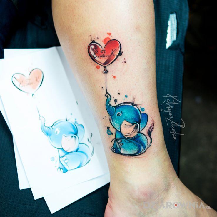 Tatuaż słonik  balonik  serduszko  akwarela  watercolor - miłosne