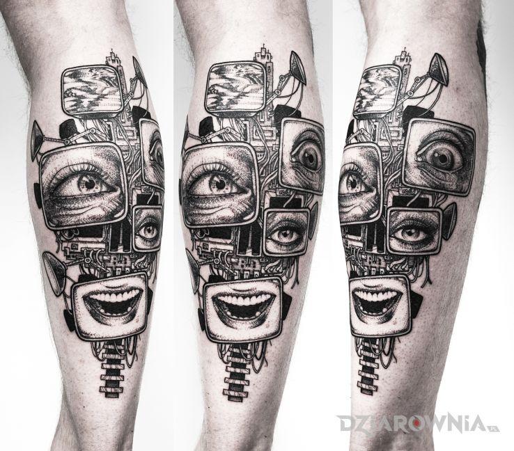Tatuaż szaleństwo  madness  cyperpunk - twarze