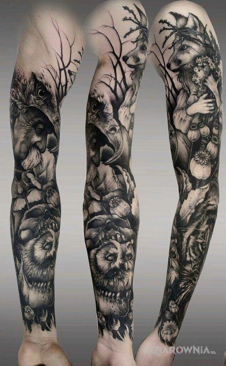 Tatuaż postaci jak z bajki - czarno-szare