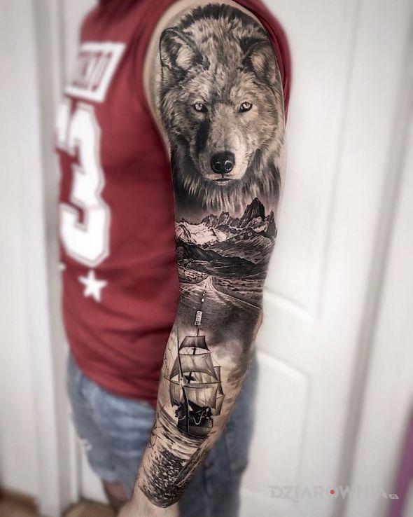 Tatuaż wilk morski w motywie 3D i stylu realistyczne na przedramieniu