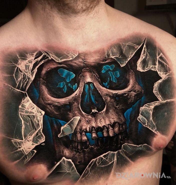 Tatuaż czaszka na 100 w motywie 3D i stylu realistyczne na klatce
