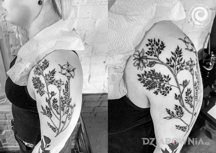 Tatuaż kwiaty polne - ornamenty