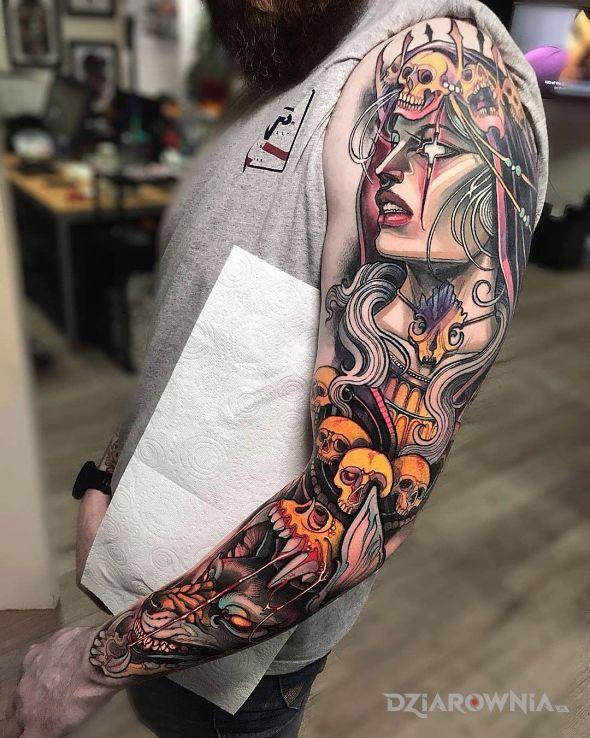 Tatuaż neotradycyjna wiedźma - twarze
