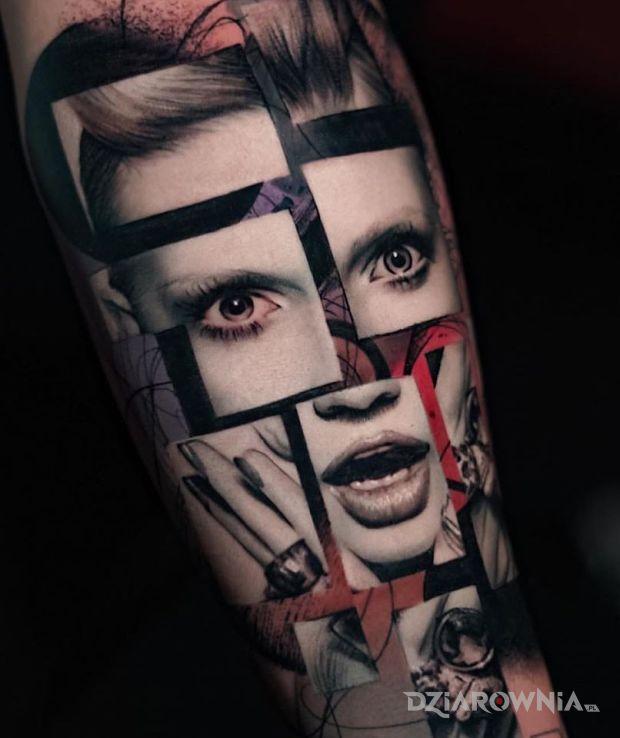 Tatuaż twarz w kawałkach - twarze