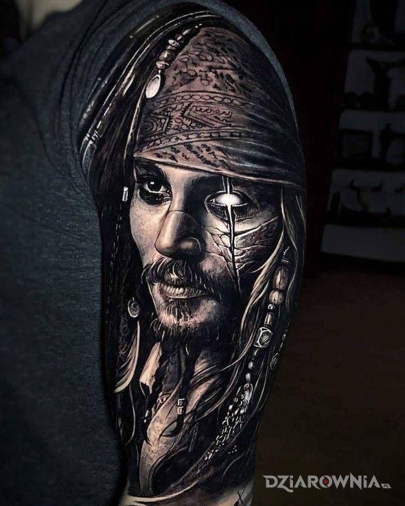 Tatuaż jack saprrow - czarno-szare