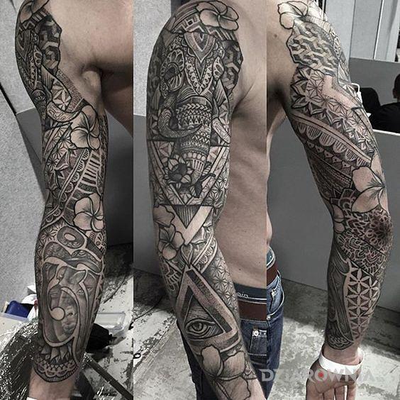 Tatuaż słoń iluminati - mandale