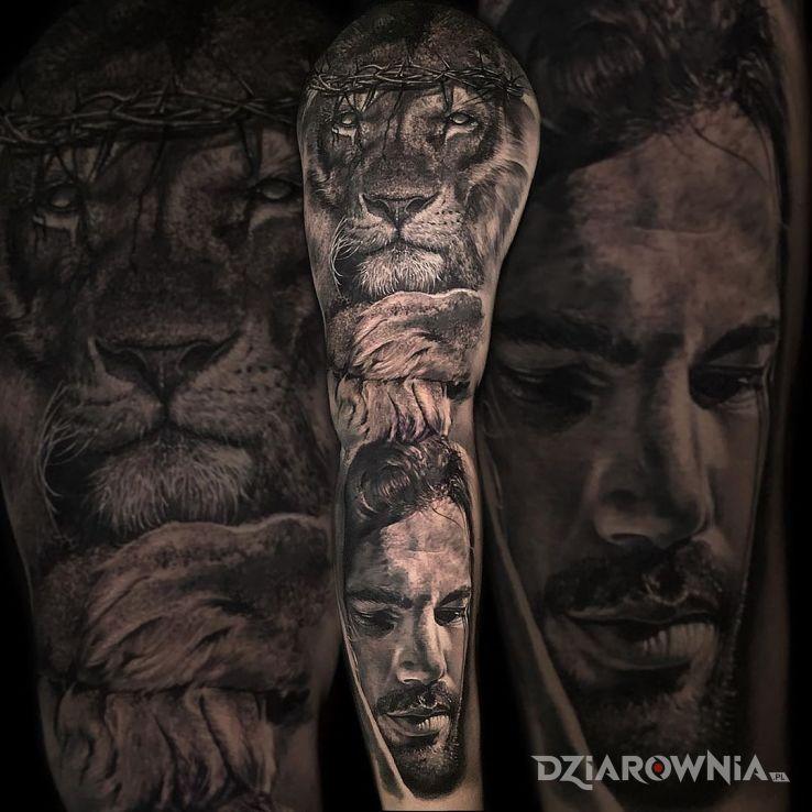 Tatuaż lew w koronie cierniowej - 3D