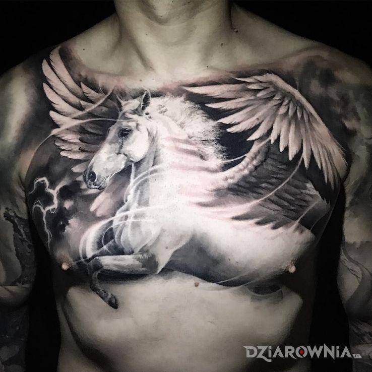 Tatuaż pegaz - czarno-szare