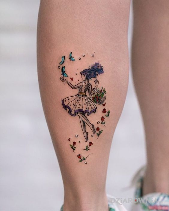 Tatuaż radosna dziewczyna - kolorowe