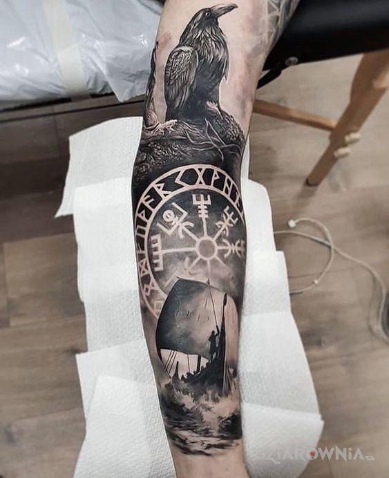Tatuaż okręt wikingów - 3D
