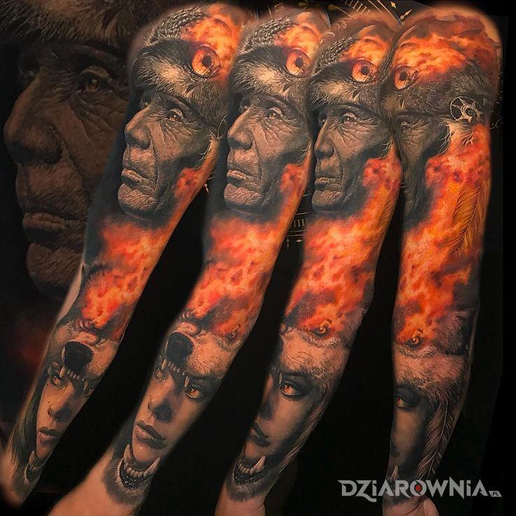 Tatuaż płomienie na najwyższym poziomie - czarno-szare