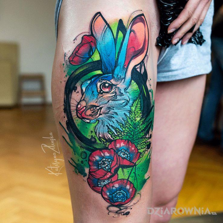 Tatuaż królik  akwarela  watercolor - kwiaty
