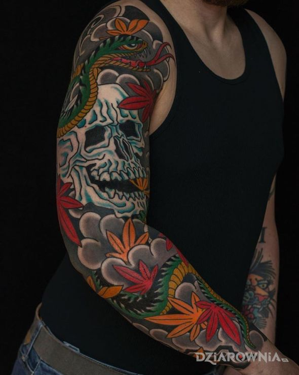 Tatuaż japonska czacha - japońskie