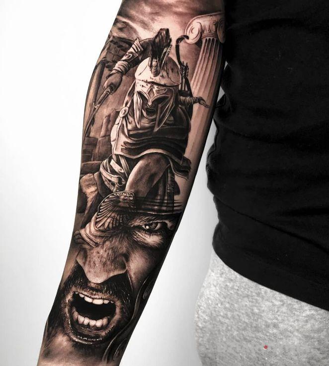 Tatuaż wojownik sparty - postacie