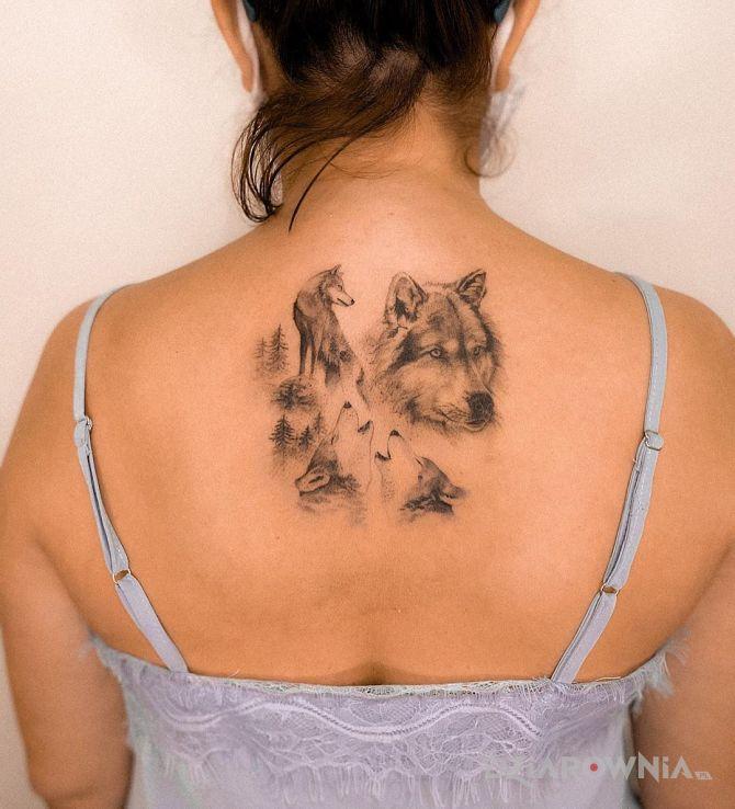 Tatuaż wilki z tyłu w motywie 3D i stylu realistyczne na plecach