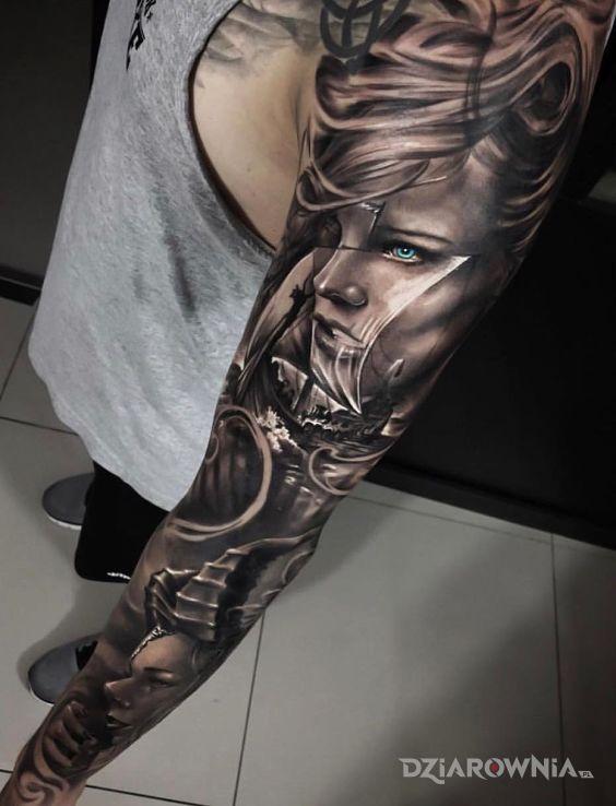 Tatuaż dziewczyny wikingów - 3D