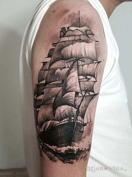 Tatuaż okręt  statek  masztowiec - 3D
