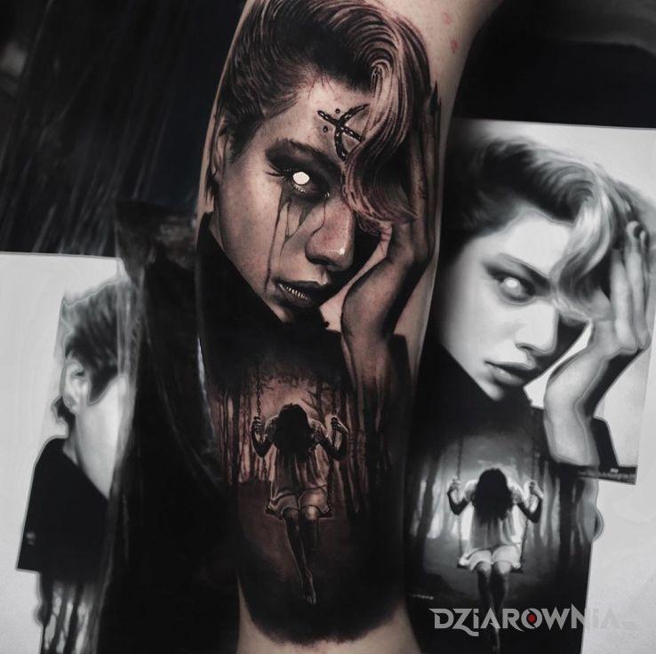 Tatuaż dziewcyzna demon - 3D