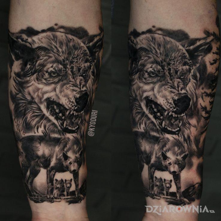 Tatuaż wilki - czarno-szare
