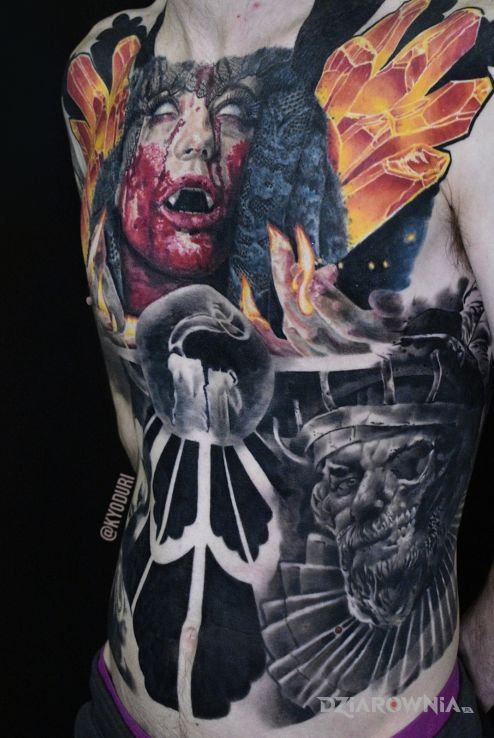 Tatuaż skull vampir - realistyczne