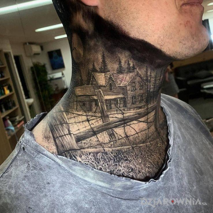 Tatuaż chatka d w motywie 3D i stylu realistyczne na szyi