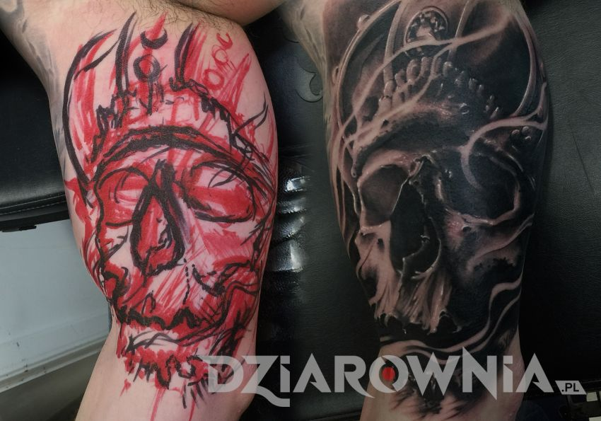 tatuaż czaszka technika freehand