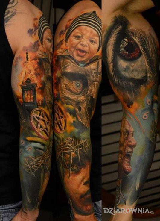 Tatuaż kolorowy rękaw w motywie rękawy na przedramieniu