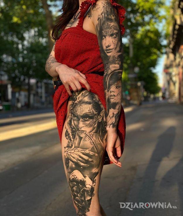 Tatuaż 3 portrety - twarze