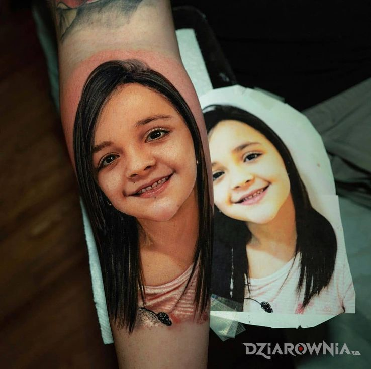 Tatuaż portret córki - 3D